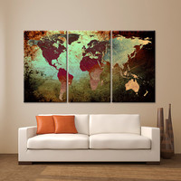 "LARGE 30""x 60"" 3 Panels 30""x20"" Ea Art Canvas Print World Map Texture Abstract Wall Decor interior design Home Office (Included framed 1.5"" depth)"