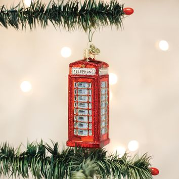 Old World Christmas Handcrafted Blown Glass Ornament -- English Phonebooth