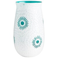 Large Cameo White & Teal Art Glass Vase by Cyan Design