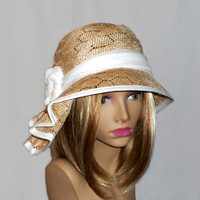 """Kentucky Derby hat, """"Sophia"""" beautiful parasisal straw hat, womens summer millinery hat, color natural novelty straw"""