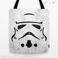 Star Wars Storm Trooper Tote Bag 13x13 Graphic Pop Art Culture Movie Galaxy Universe Helmet Lucas Film White Black Abstract Gift for Him Her