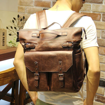 Vintage Men's 14 Inch Laptop Bag Leather Backpack Travel