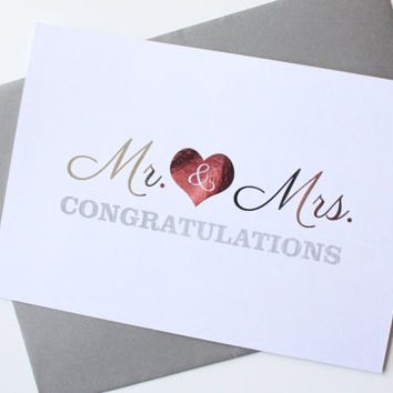 Wedding Congratulations card - Mr & Mrs Congratulations