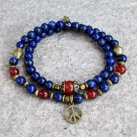 stability and compassion, genuine lapis lazuli, and carnelian 54 bead wrap mala bracelet