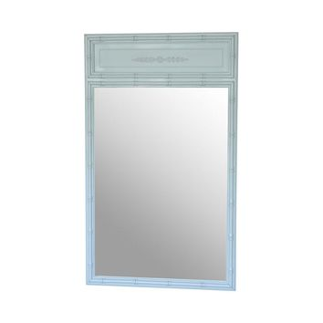 Pre-owned Faux Bamboo Mirror in Matte Robin's Egg Blue