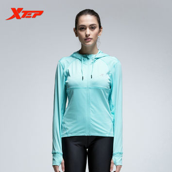 XTEP Women Sport Jacket Zipper Hooded Long Sleeve Breathable Athletic Coats Running Fitness Quick Dry Sportswear 884328069073