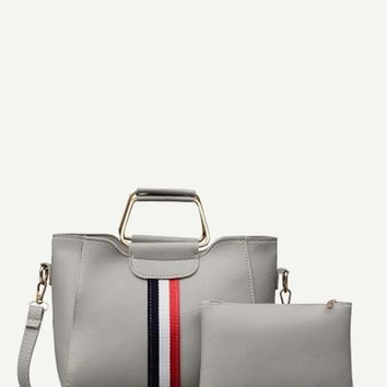 Striped Detail Satchel Bag With Clutch