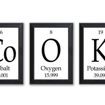 """Cook Periodic Table Framed 3 Piece Wall Plaque Set  Each Plaque 5"""" x 7"""" - Geeky Home Decor"""