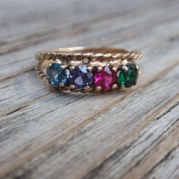10k Ladies Cluster Ring Wedding band Mothers anniversary yellow gold 4 spinel mutli color stones   10% OFF coupon in item detail