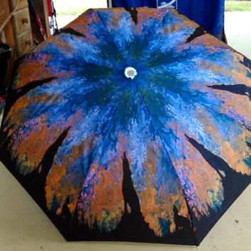 Art Umbrella Blue Landscape Wolves Wolf Night Abstract Silhouette