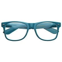 Retro Colorize Frame Clear Lens Horned Rim Glasses 2951