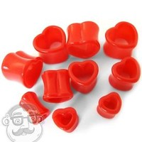 """Red Heart Shaped Plugs Sizes / Gauges (2G - 5/8"""") - Sold in Pairs - New!"""