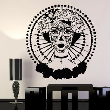Vinyl Wall Decal Calavera Day Of The Dead Symbol Mexico Rose Stickers Unique Gift (1196ig)