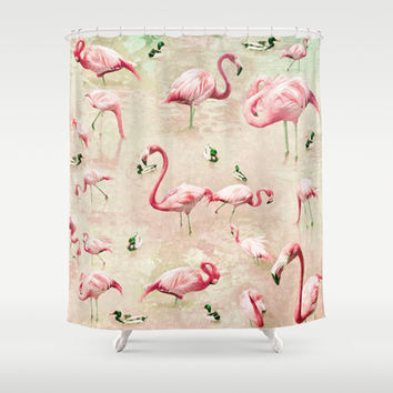 Flamingos Vintage Pink Shower Curtain by Lisa Argyropoulos