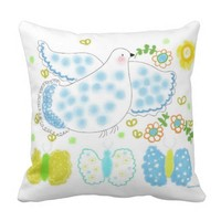 Peace blue Dove and yellow pillow