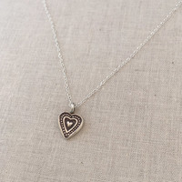 Small Heart Pendant Necklace in Silver with Delicate Chain / Sterling Silver Heart Necklace