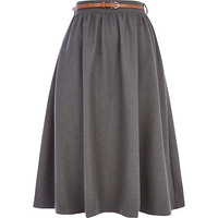 River Island Womens Grey flannel full midi skirt