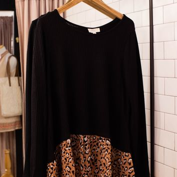 Waffle Knit Animal Print Top, Black | Plus Size
