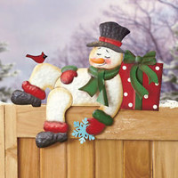 Metal Holiday Fence Topper Sleeping Snowman Outdoor Christmas Seasonal Decor New