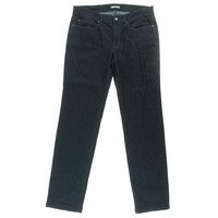 Eileen Fisher Womens Mid-Rise Indigo Straight Leg Jeans