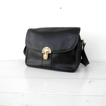 Vintage Black Saint Jack Leather Crossbody Bag / Shoulder Bag / Purse Bag /