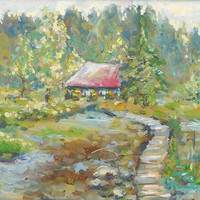"""Oil Painting Custom Landscape """"House near lake"""" Impasto Wall Decor Russian Nature Forest Lake Contemporary Modern Art Photo to Painting Gift"""