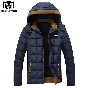 Winter Warm Men's Down Jacket Men Parka Windproof Hooded Coats Casual Veste Homme Brand Clothing MJ321
