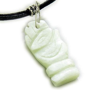 Good Luck And Protection Eye And Hand Light Green Jade Necklace