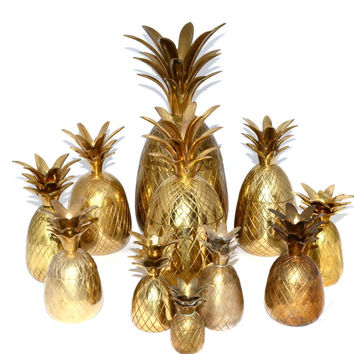 "8"" Vintage Brass Pineapple Brass Pineapple Gold Pineapple Pineapple Decor Wedding Decor Wedding Candles Pineapple Brass"