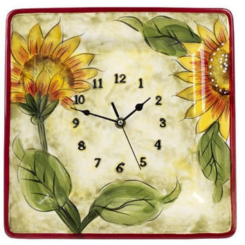 5th Ave Store Original Cucina Italiana Ceramic Sunflower Décor Wall Clock