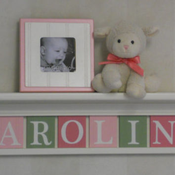 """Baby Girl Name Sign Nursery Decor 30"""" Linen (Off White) Shelf with 8 Letter Wooden Tiles Painted in Pinks and Green - CAROLINE"""