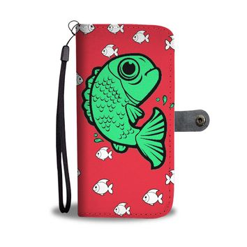 Playing Fish on Red Print Wallet Case-Free Shipping