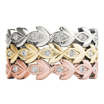 Stackables 3/4 Eternity Tri-Tone Gold Tulip 3-Band Set