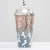 New Look Ombre Unicorn Glitter Shake It Cup at asos.com