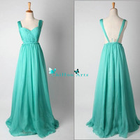 Mint Green V-neck Long Chiffon Prom Dress Bridesmaid Dress Party Dress Simple Homecoming Dress Formal Prom Dress Custom Size with Ruffle