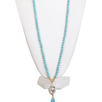 BAL HARBOR TASSEL STONE NECKLACE - TURQUOISE