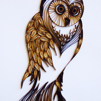 The Vintage Wise Owl - Unique Paper Quilled Wall Art for Home Decor (paper quilling handcrafted art piece made by an artist in California)