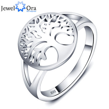 Tree of Life Classic Accessories 925 Sterling Silver Rings For Women New  (JewelOra RI102308)