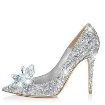 Girls Dream For Fairy Crystal Shoes Rhinestone High Heel Shoes Ladies Pumps High Heels