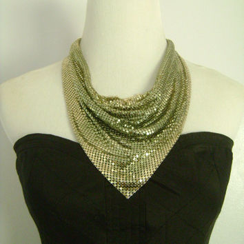 Vintage Disco Era Shimmering Golden Metallic Metal Mesh Drape Choker Collar Swag Bib Scarf Ascot Cowl Necklace FREE Earrings WHITING & DAVIS