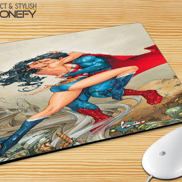 Superman And Wonder Women Fire Love Mousepad Mouse Pad|iPhonefy