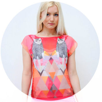 Coral cat- chiffon top
