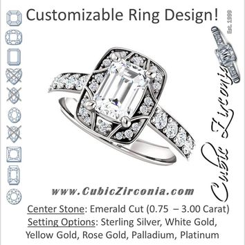 Cubic Zirconia Engagement Ring- The Payton (Customizable Emerald Cut with Segmented Cluster-Halo and Large-Accented Band)