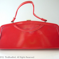 Super Vintage Bright RED Patent Leather Kelly Handbag Purse from ThisBlueBird