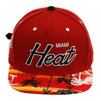 Mitchell and Ness ND49z Miami Heat Palm Tree Strapback Hat - Red