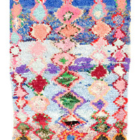 Boucherouite Rug, Blue & Pink Diamonds