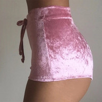 5 Colors Sexy Velvet Women Shorts 2017 Fashion High Waist Lace Up shorts Autumn Winter Mini Skinny Shorts