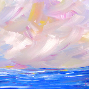 Original Painting Seascape Abstract Purple Blue Pink 16 x 20 Coastal Waves Ocean Landscape Modern Art Contemporary Painting