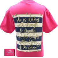 Bjaxx Lilly Paige She is Clothed with Strength & Dignity Arrows Christian Girlie  Bright T Shirt