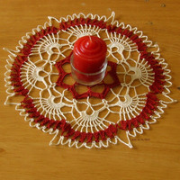 Copper Brown Star Creamy Fans Doily - Contrasting Colors - Graphic Design --- Thread Crocheted Lace Decor